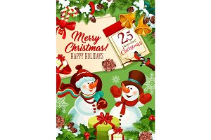 Snowman with gift bag Christmas greeting card