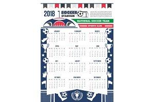 Vector 2018 calendar template soccer football