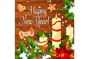 Christmas and New Year wreath on wooden background