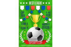 Vector football poster soccer college league cup
