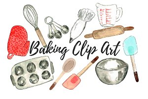 Watercolor Baking Clip Art