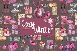 Cozy winter watercolor clip art