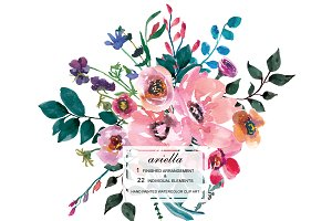 Watercolor Pink Flowers Clipart