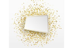 Gold confetti background. Paper white bubble for text