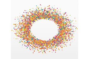 Colorful celebration background with confetti. Bubble for text
