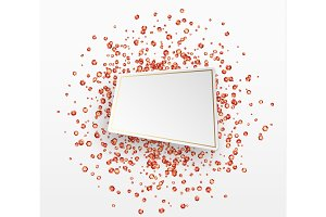 Red sequins background. Paper white bubble for text