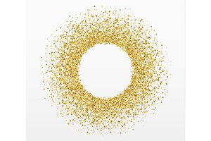 Golden bright sparkles background. Paper white bubble for text