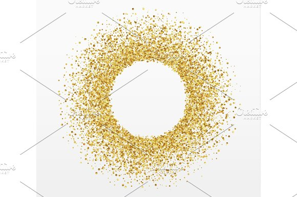 Golden Bright Sparkles Background Paper White Bubble For Text