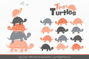 Peach & Pewter Turtle Stack Clipart