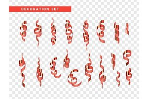 Red confetti celebration. Ribbon serpentine, isolated with transparency background effect