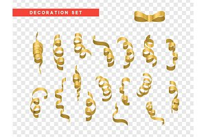 Gold confetti celebration. Ribbon serpentine, isolated with transparency background effect