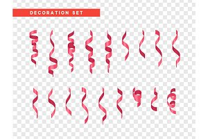 Pink confetti celebration. Ribbon serpentine, isolated with transparency background effect