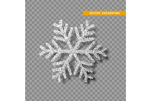 Silver snowflake covered bright glitter, on transparent background.