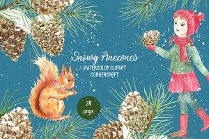 Snowy Pine Cones Watercolor Clipart