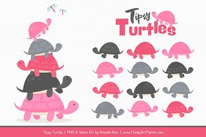 Pink & Pewter Turtle Stack Clipart
