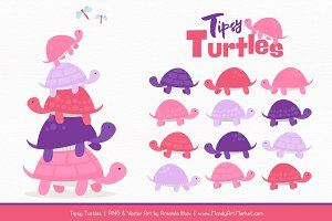Pink & Purple Turtle Stack Clipart