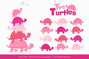 Pink Turtle Stack Clipart