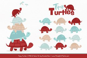 Red & Robin Egg Turtle Stack Clipart