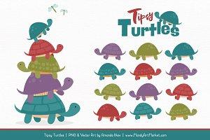 Retro Bold Turtle Stack Clipart