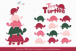 Rose Garden Turtle Stack Clipart