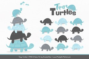 Soft Blue & Pewter Turtle Clipart