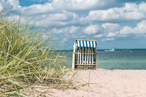 Blue colored roofed chairs on sandy beach in Travemunde. Grass bush in foreground. Germany