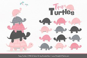 Soft Pink & Pewter Turtle Clipart
