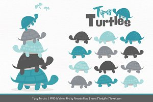 Vintage Blue & Pewter Turtle Clipart