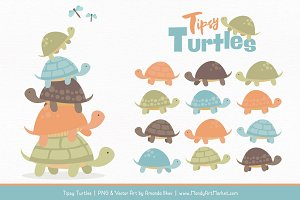Vintage Boy Turtle Stack Clipart
