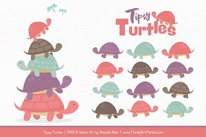 Vintage Girl Turtle Stack Clipart