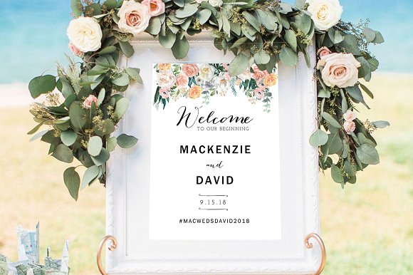 wedding welcome sign template flyer templates creative market