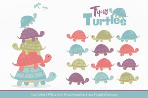 Vintage Turtle Stack Clipart