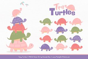 Wildflowers Turtle Stack Clipart