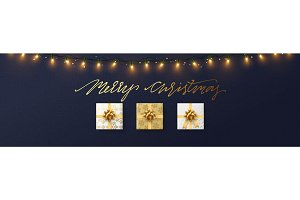 Christmas banner, Xmas sparkling lights garland with gifts box.