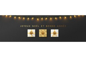 French Joyeux Noel banner, Xmas sparkling lights garland with gifts and golden tinsel.