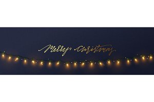Christmas banner, Xmas sparkling lights garland, posters, cards, headers website