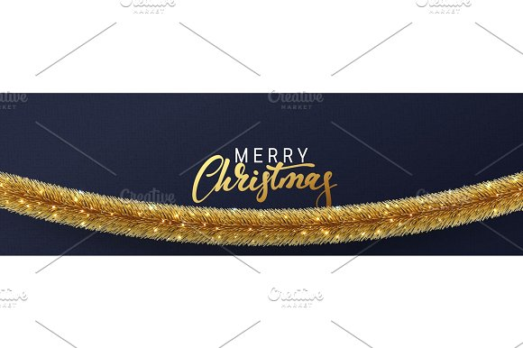 Christmas Banner Xmas Sparkling Golden Garland Tinsel