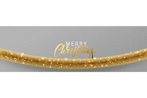 Christmas banner, Xmas sparkling golden garland tinsel.