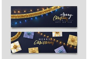 Christmas banner, Xmas sparkling lights garland with gifts and golden tinsel.