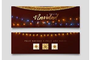 Spanish Feliz Navidad banner, Xmas sparkling lights garland with gifts and golden tinsel.