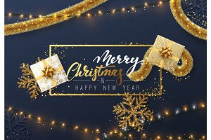 Christmas background with bright composition design. Xmas sparkling lights garland with gifts and golden tinsel.