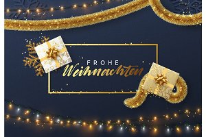 German Frohe Weihnachten, Christmas background with bright composition design.