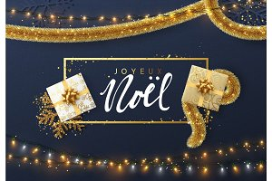 French Joyeux Noel, Christmas background with bright composition design.