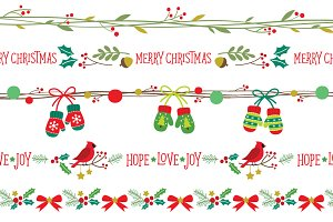Seamless Christmas Borders EPS PNG