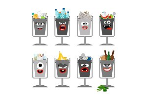 Garbage cans with trash for kids