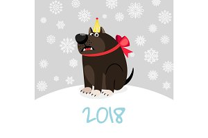 China zodiac dog happy new card