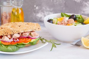 Tuna salad and tuna sandwich