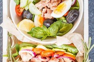 Tuna salad and tuna sandwich