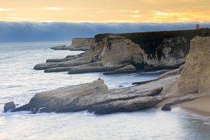 Foggy Sunset Coastline
