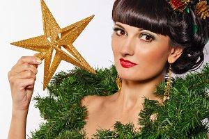 Girl with hair style Christmas